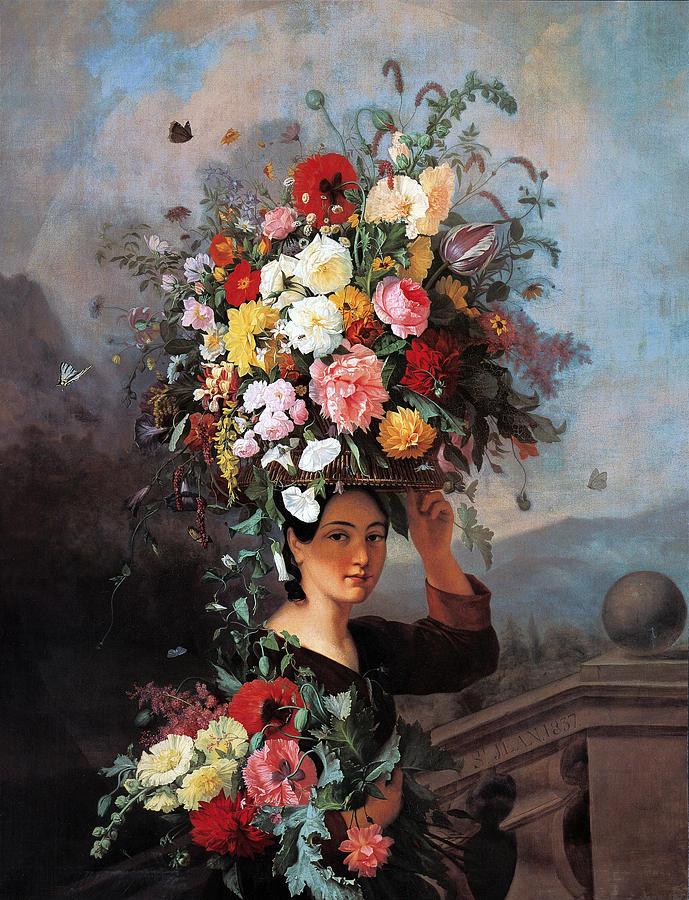 Flowers Painting - The Gardner Girl by Simon Saint Jean