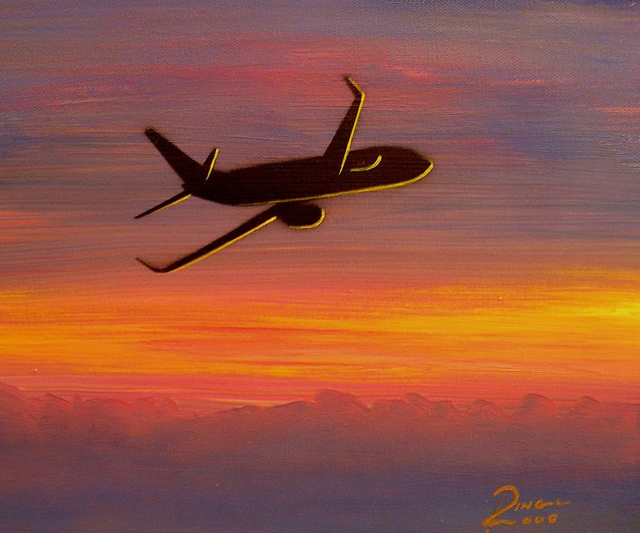 Boeing Painting - 737-8 Sunset by Peter Ring Sr
