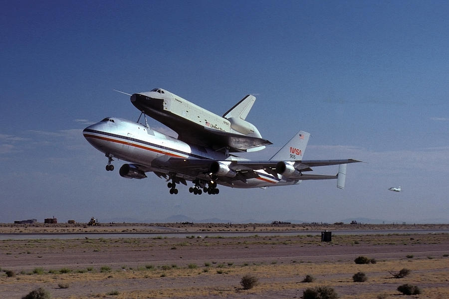 Space Photograph - 747 Takes Off With Space Shuttle Enterprise For Alt-1 by Brian Lockett