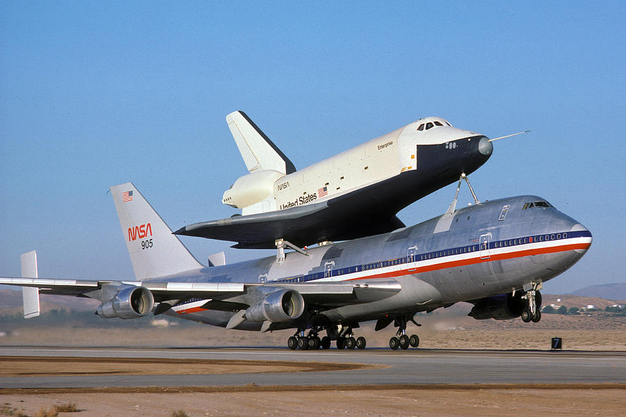 Space Photograph - 747 Takes Off With Space Shuttle Enterprise For Alt-4 by Brian Lockett