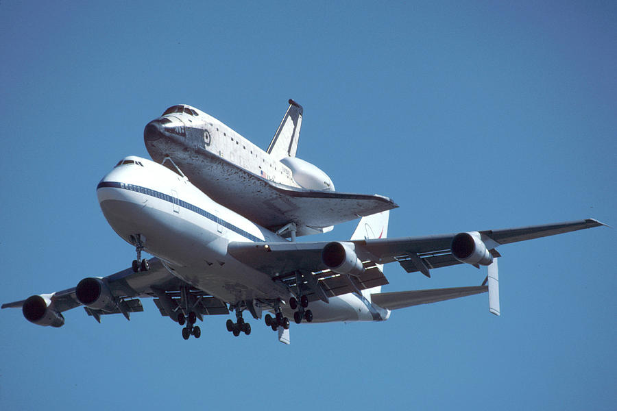 Space Photograph - 747 With Columbia At Palmdale by Brian Lockett