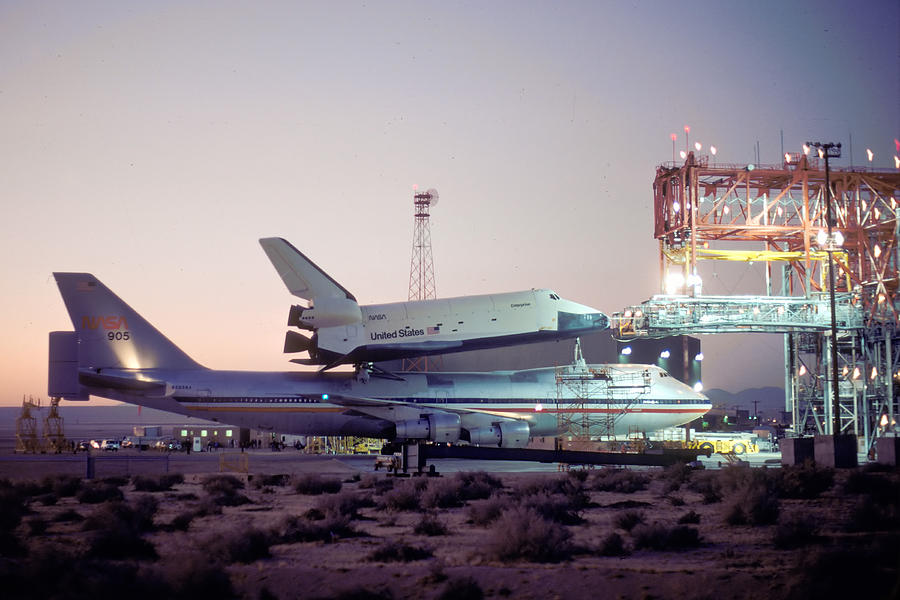 Space Photograph - 747 With Space Shuttle Enterprise Before Alt-4 by Brian Lockett