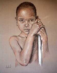 Boy Drawing - Little Boy by Ixchel Amor