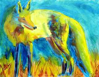 Fox Painting - Fox At Sunset by Cherri Lamarr