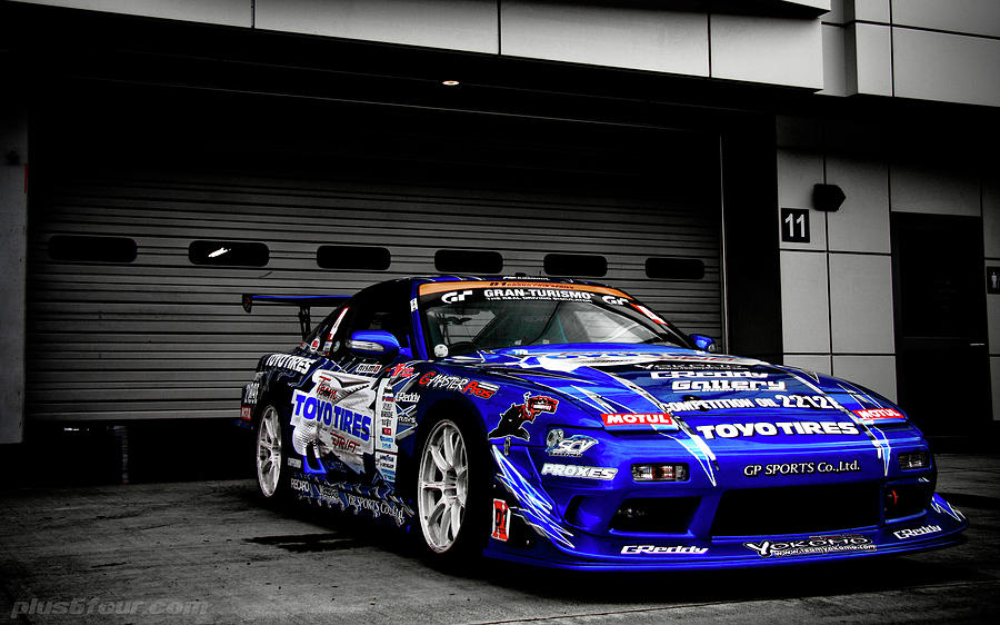 7763 Nissan Tuning Race Cars Blue Cars Selective Coloring Digital Art by Mery Moon