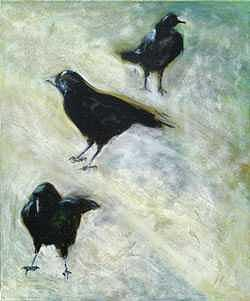 Crows Painting - Three Crows by Cherri Lamarr