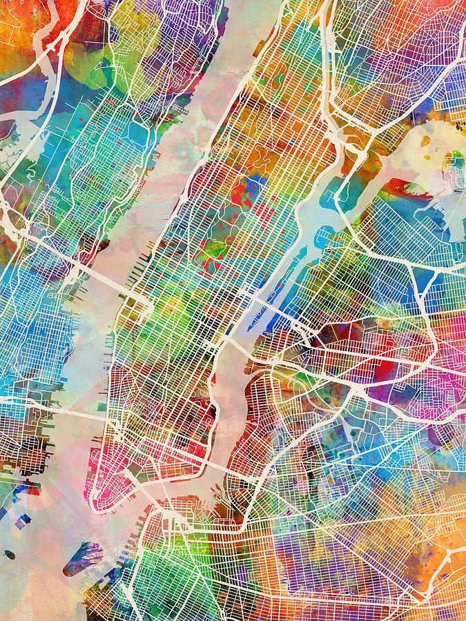 New York Digital Art - New York City Street Map by Michael Tompsett