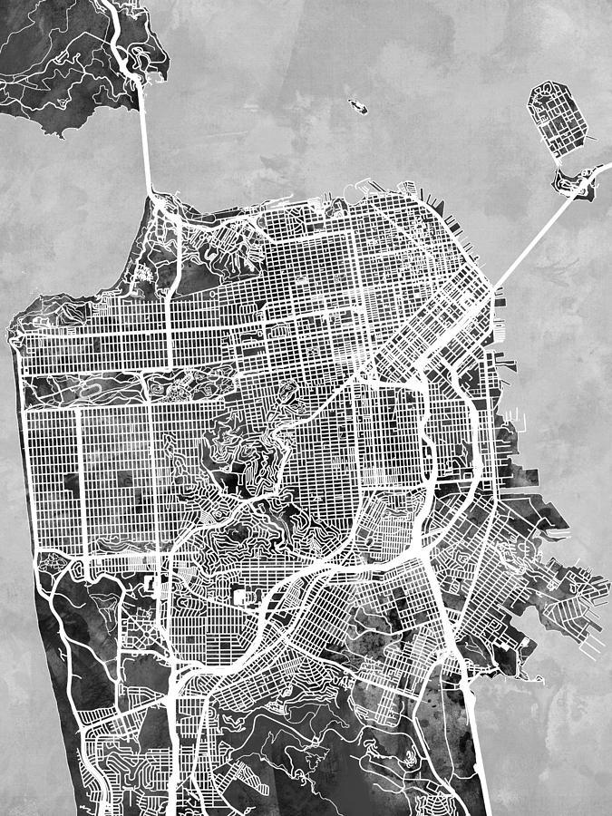 San Francisco Digital Art - San Francisco City Street Map by Michael Tompsett