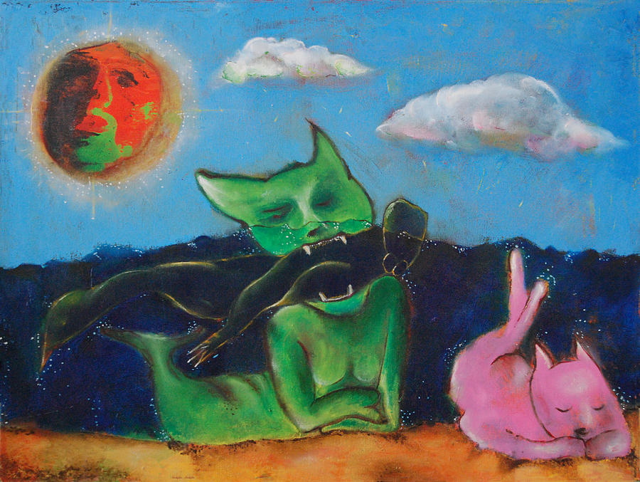 Cats Painting - Untitled 8 by Abigail Lee Goldberger