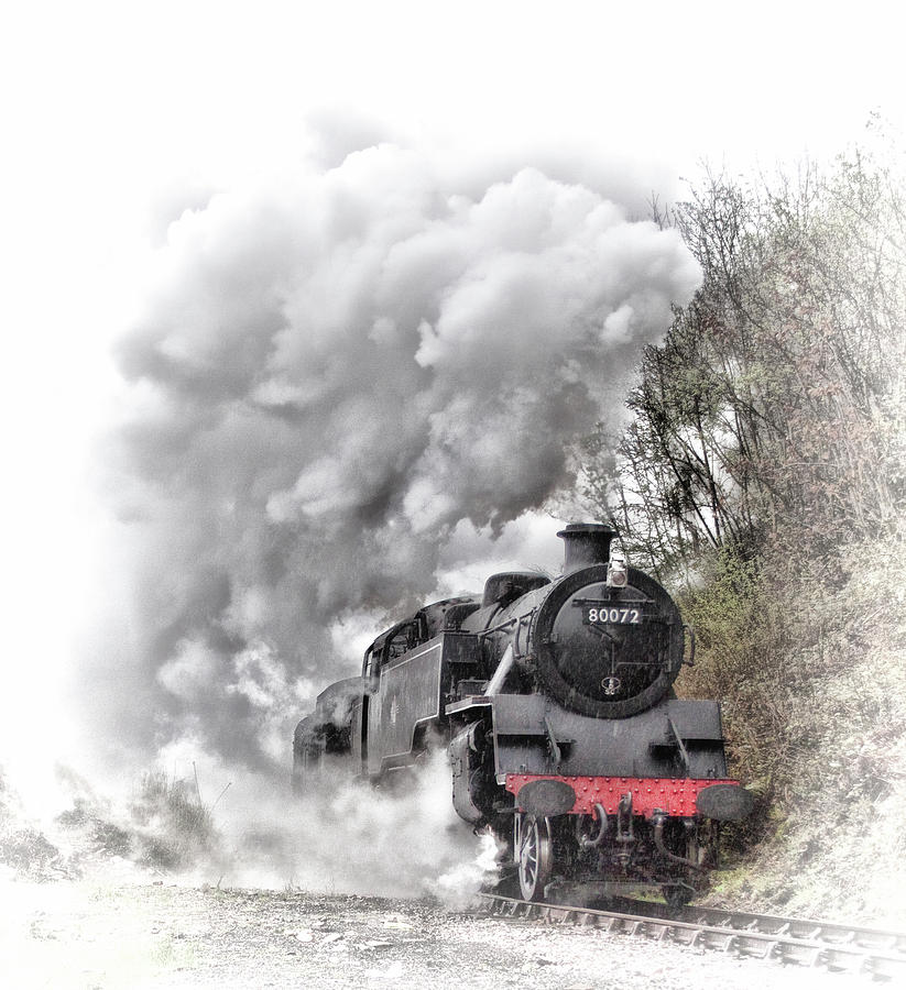 Steam Photograph - 80072 Steaming In The Rain by Andrew Munro