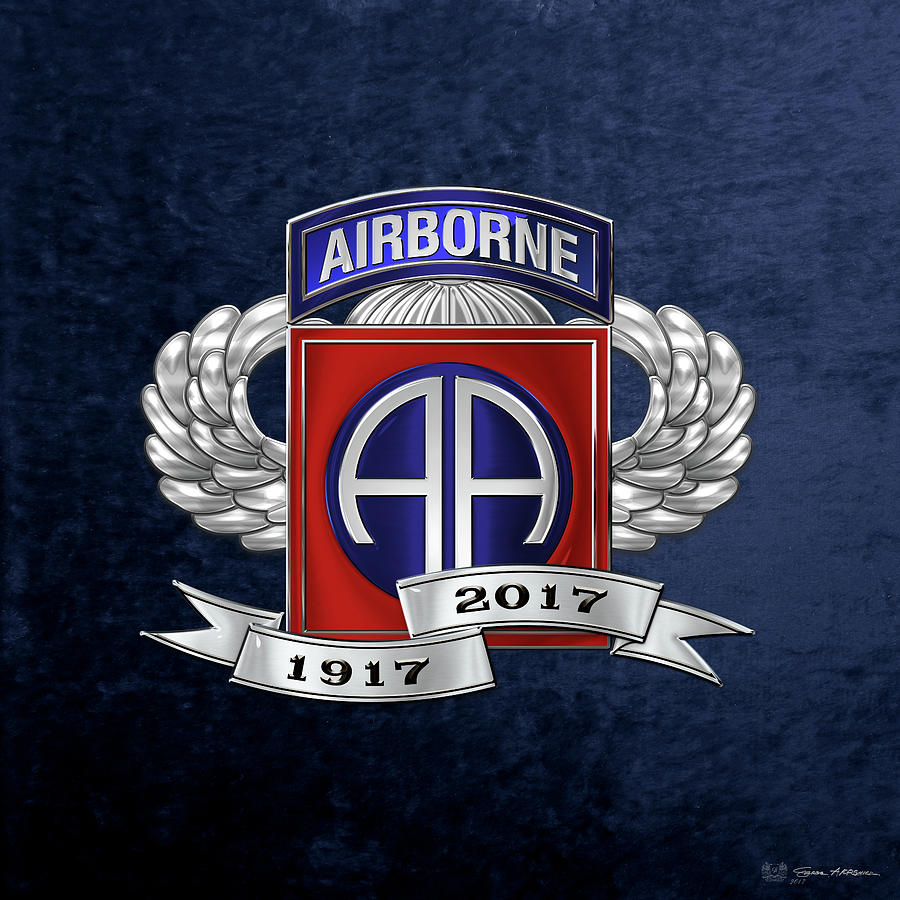 Military Digital Art - 82nd Airborne Division 100th Anniversary Insignia Over Blue Velvet by Serge Averbukh