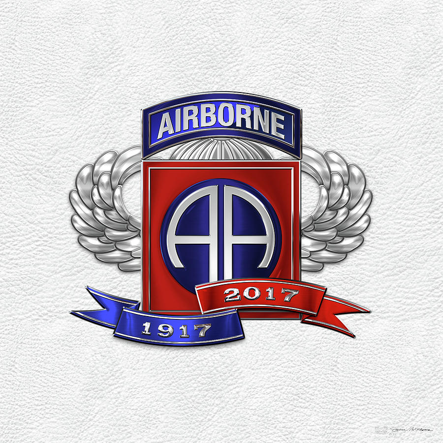 Military Digital Art - 82nd Airborne Division 100th Anniversary Insignia Over White Leather by Serge Averbukh