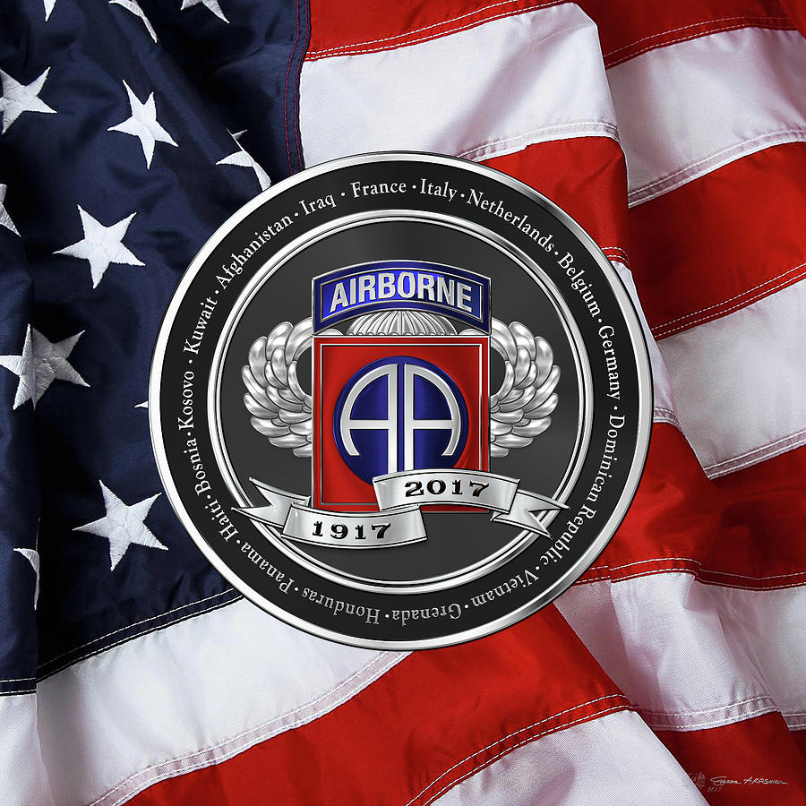 Military Digital Art - 82nd Airborne Division 100th Anniversary Medallion Over American Flag by Serge Averbukh