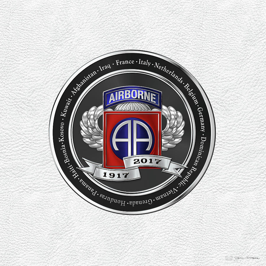 Military Digital Art - 82nd Airborne Division 100th Anniversary Medallion Over White Leather by Serge Averbukh