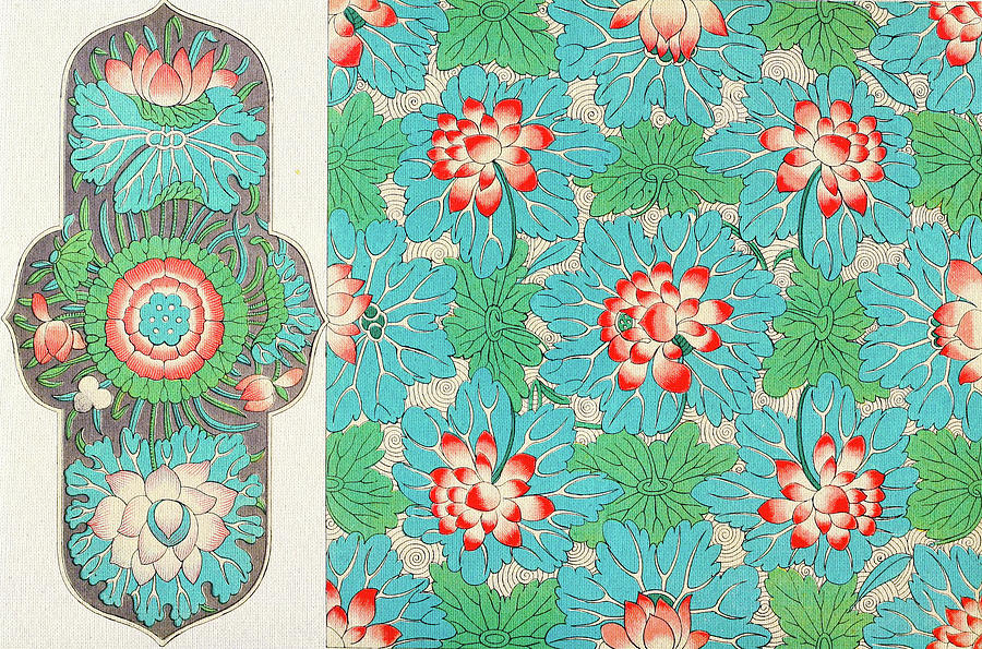 Red And Blue Floral Art Asian Flower Patterns Wall Art Prints Delectable Asian Patterns