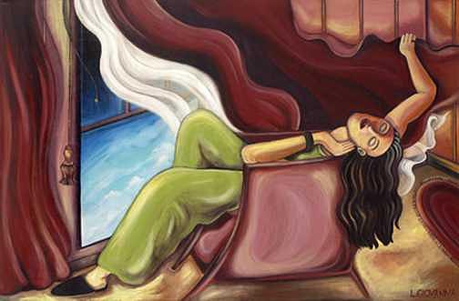 Women Painting - Dreaming Of Him by Lina Scarfi