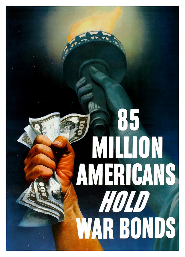 Statue Of Liberty Painting - 85 Million Americans Hold War Bonds  by War Is Hell Store