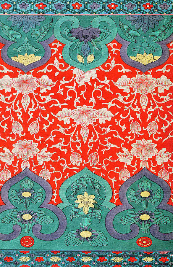Green And Red Flower Art Pattern Traditional Asian Illustration Impressive Asian Patterns