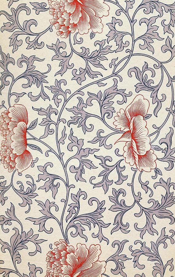 Bright Pastel Flower Art Pattern Vintage Ethnic Asian Wall Art Best Asian Patterns