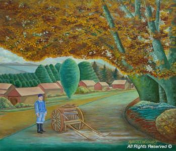 Farm Painting - Country Big Wheel One by Armando Bettencourt