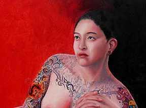 Woman Painting - Black Dragon by Linda Champanier