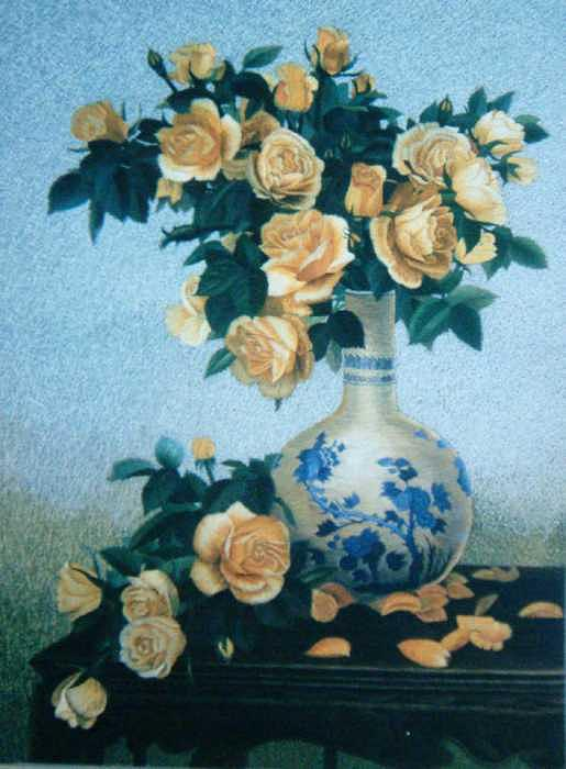 Handmade Silk Embroidery Tapestry - Textile - Vase And Flowers by Xiaohuan Sheng