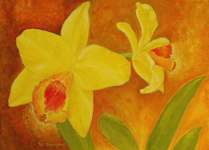 Orchids Painting - Two Yellow Orchids by Thi Nguyen