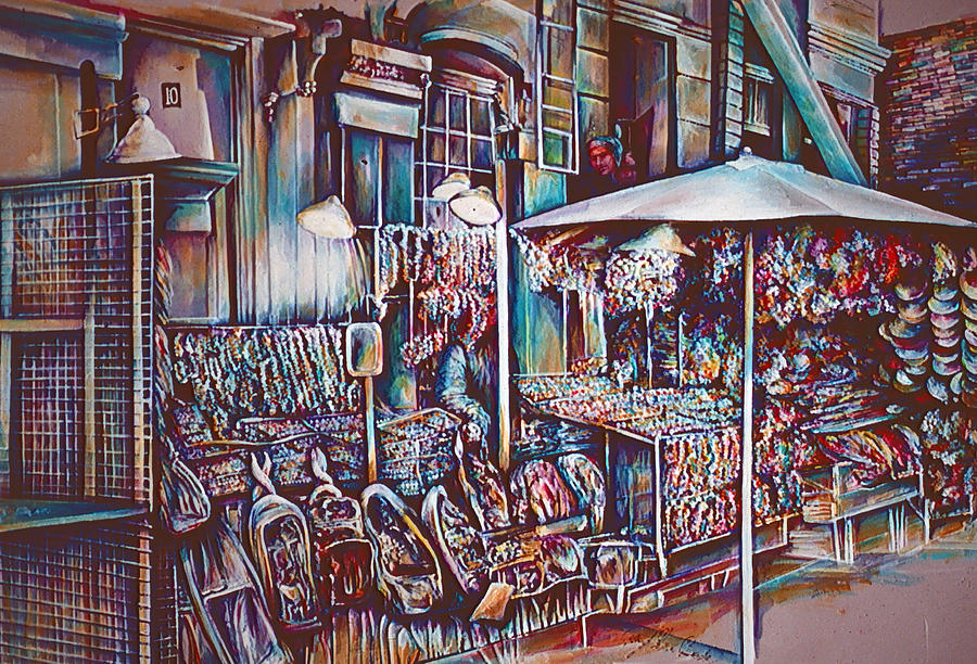 Cityscape Painting - 8th Street Rings by Gaye Elise Beda