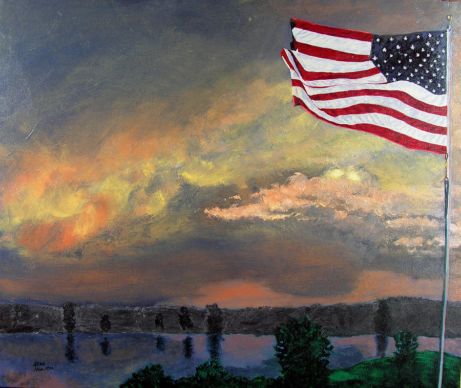 Flag Painting - 9 11 2001 by Stan Hamilton