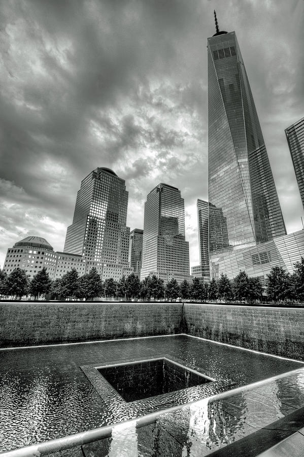 New york city photograph 9 11 memorial and one world trade center in black