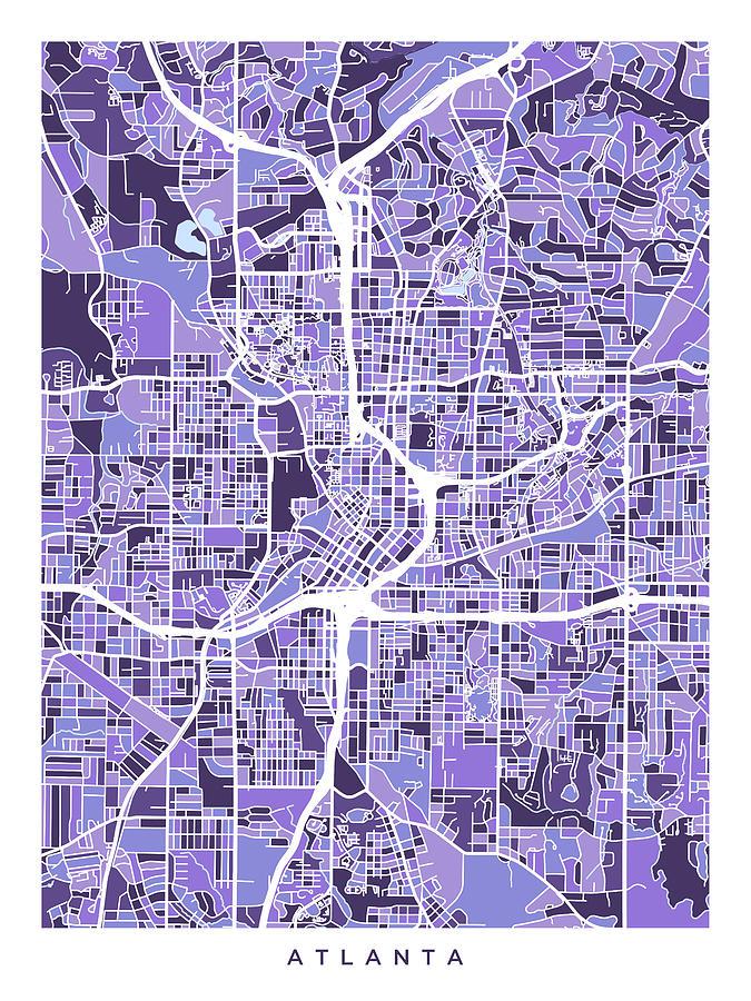 Atlanta Georgia City Map Digital Art by Michael Tompsett on