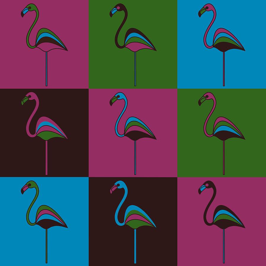 Flamingo Pyrography - 9 Flamingos by Asbjorn Lonvig