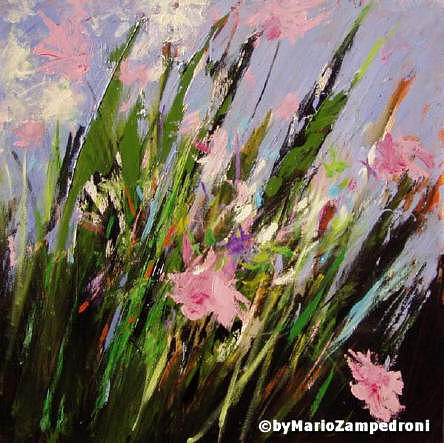 Abstract Flowers Painting - Flowers... by Mario Zampedroni