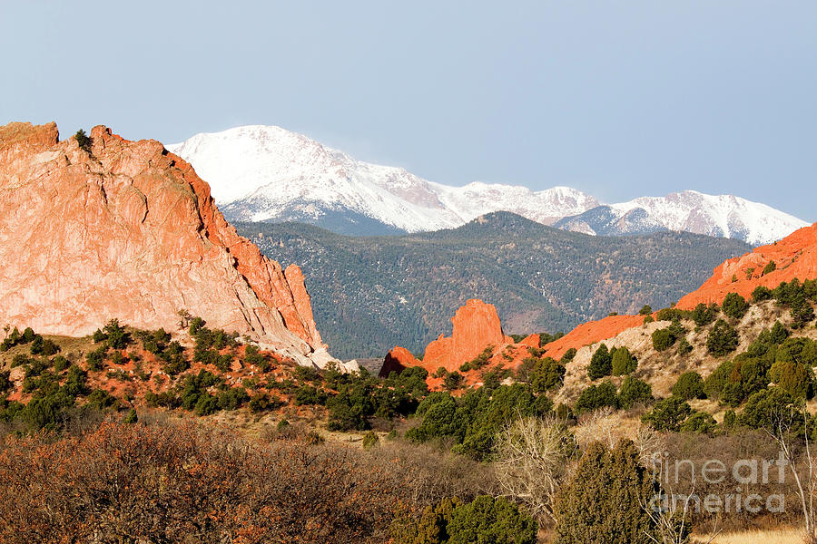 Pikes Peak Towering Over Garden Of The Gods Photograph