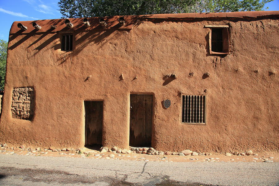 adobe photograph santa fe adobe building by frank romeo