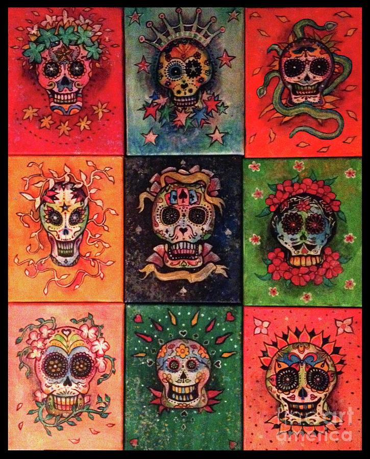 Sugar Skulls Painting - 9 Skulls by Dori Hartley