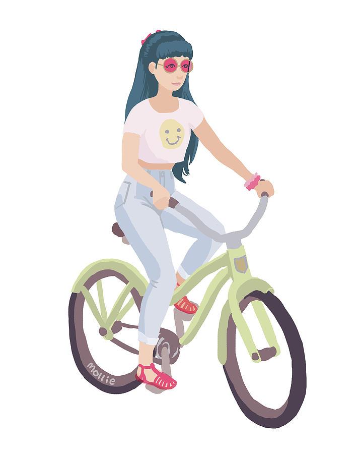90s Bike Girl Digital Art By Mollie Draws