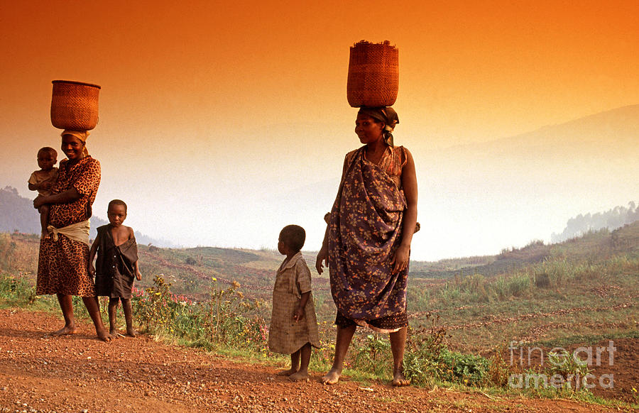 Mother Photograph - On The Road. Rural Uganda East Africa by Jacky Chapman