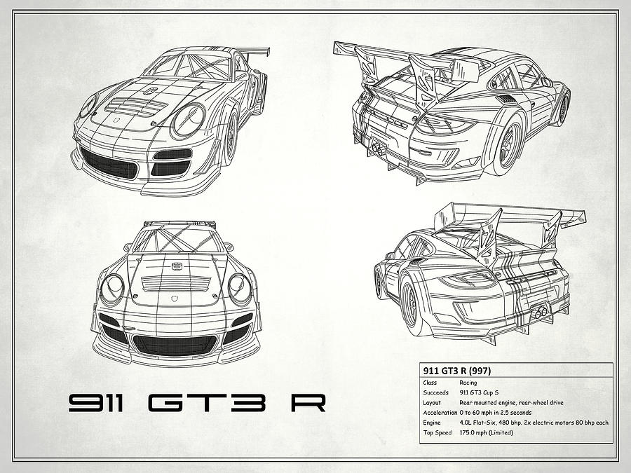 911 gt3 r blueprint white photograph by mark rogan porsche photograph 911 gt3 r blueprint white by mark rogan malvernweather Image collections