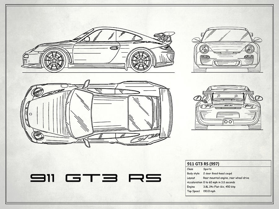 911 Gt3 Rs Blueprint , White