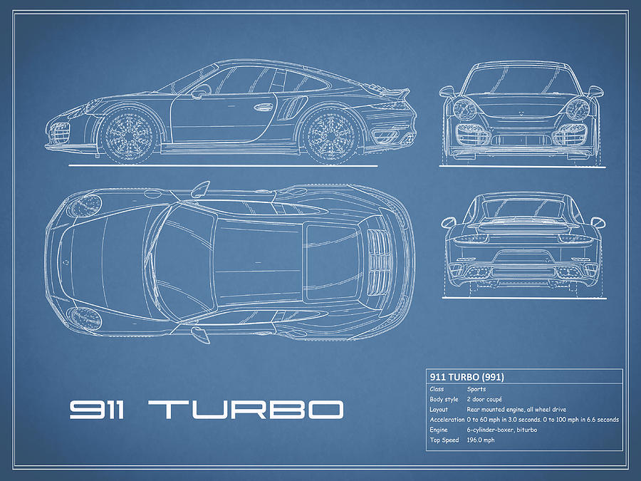 911 Turbo 991 Blueprint Photograph By Mark Rogan