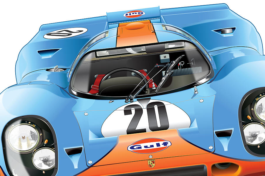 Digital Illustration Digital Art - Porsche 917 Illustration by Alain Jamar