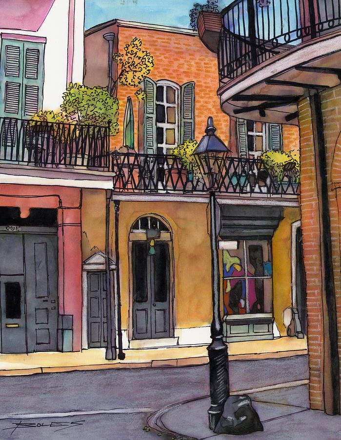 Louisiana Painting - 94  French Quarter Sunday Morning by John Boles