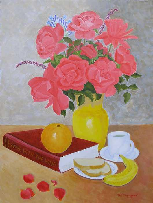 Roses Painting - Roses And Fruits No 6 by Thi Nguyen