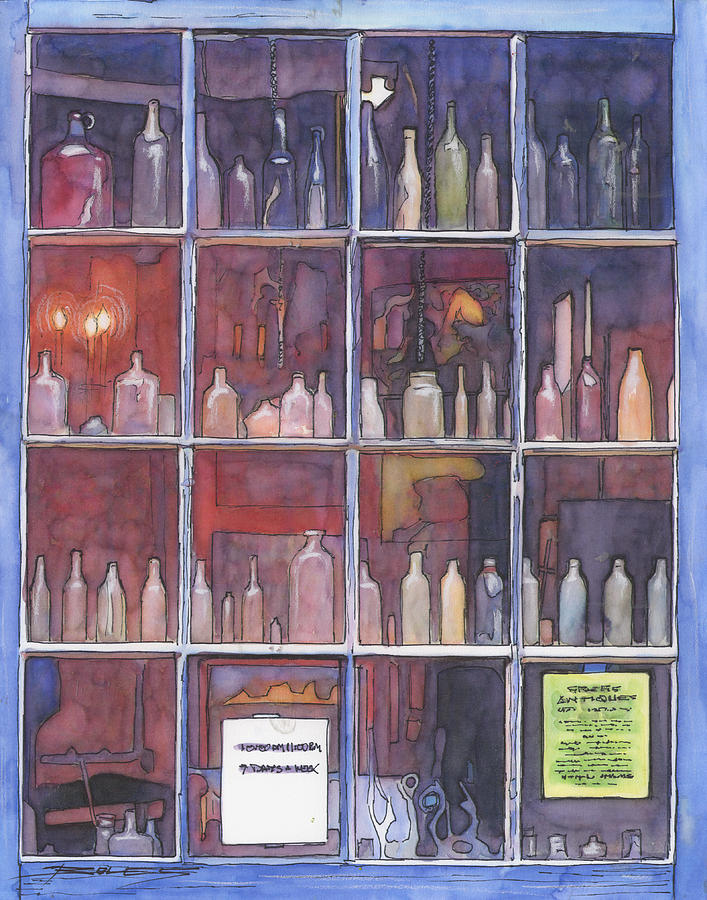 Louisiana Painting - 95   French Quarter Window With Bottles by John Boles