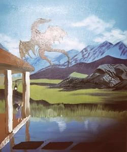 Fantasy Painting - Dragon In Flight   Original by Christine Ward