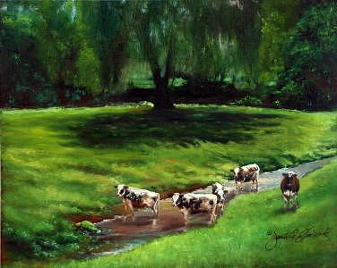 Lancaster County Pennsylvania Painting - 96 Degrees In The Shade-lancaster County Pa by Jeanie Chadwick