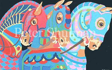 Carousel Painting - Carousel Horses Number 2 by Peter Shulman