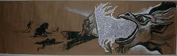 99 Cent Fire Painting by Meat-Jeffery Paul Gadbois