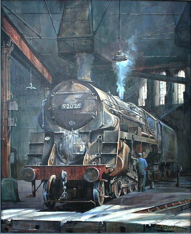 9f Painting - 9f On Saltley Shed 1958. by Mike Jeffries